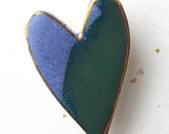 Heart Pin. Blue & Green. Clay Brooch. Ceramic. 22K Gold Edging. Cobalt Blue. Teal Green. Blue-Green. Emerald. Denim. Statement Brooch