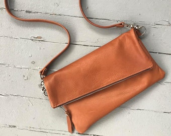 Reserved for Kat- FOLDOVER CLUTCH - foldover crossbody bag - customizable clutch - leather clutch purse - leather zippered clutch