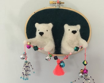Two happy bear brothers embroidery