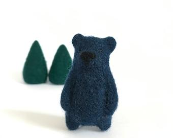 Dark blue wool bear brooch