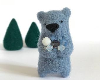 Cloudy blue needle felted bear brooch