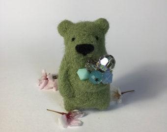 Light moss green bear brooch with Swarovski crystals