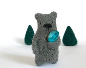 Dark grey wool bear brooch