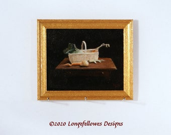 No. 10 Still Life Basket with Veg - Miniature Dollhouse Painting in 1:12 Scale