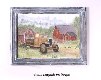 No. 53 Jalopy Truck - Miniature Dollhouse Painting in 1:12 Scale