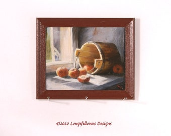 No. 6 Bucket of Apples - Miniature Dollhouse Painting in 1:12 Scale