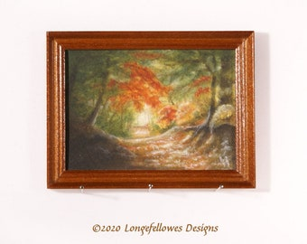No. 48 Woodland Path - Miniature Dollhouse Painting in 1:12 Scale