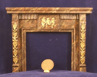 1:12 Scale Fireplace Mantel - Leaves and Cherubs (LC 2)