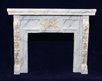 1:12 Scale Fireplace Mantel - Leaves and Cherubs (LC3)