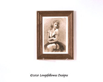 No. 55 Sepia Boudoir - Miniature Dollhouse Painting in 1:12 Scale