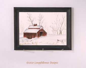No. 56 Winter Barn - Miniature Dollhouse Painting in 1:12 Scale