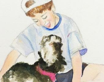 Dog Portrait with Child, 8x10
