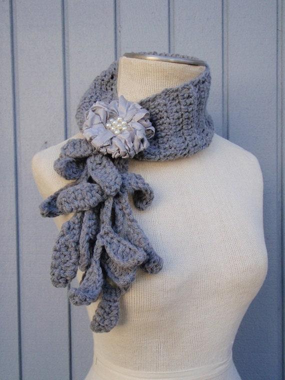 Häkeln Sie Halskette handgemachte Schal floral Schal | Etsy