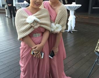 Shawl, Gift, Accessories, wedding gown, handmade flowers, handmade shawl, knitting shawl, bridesmaid gift, bridesmaid, bridal accessories