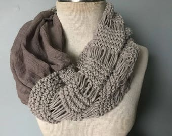 Taupe color,Knit scarf,  fall scarf, soft scarf, circle scarf, infinity scarves, women scarves, winter scarves, winter scarf,  chunky scarf,