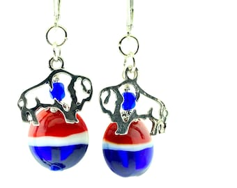 Buffalo Bills jewelry earrings - Sterling Silver leverbacks & hand-crafted Lampwork Glass Beads - Red White Blue