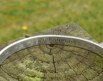 "ADD-ON Reverse ""Secret Message"" for Hand-stamped Aluminium Cuff (slim)"