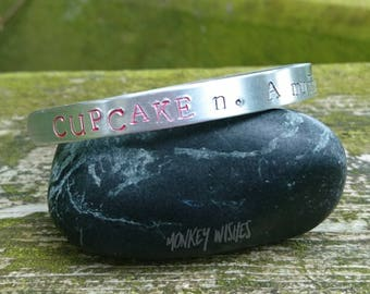 Cupcake Definition Hand-stamped Aluminium Cuff - Funny, inspirational, gift
