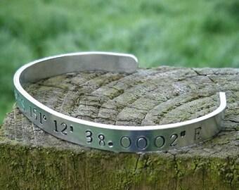 Latitude-Longitude Travel Coordinate Hand-stamped Aluminium Cuff -Gift, Memory, Unique, Experience