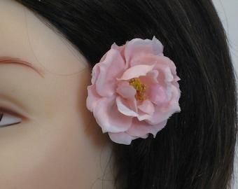 mini pink rose hair clip