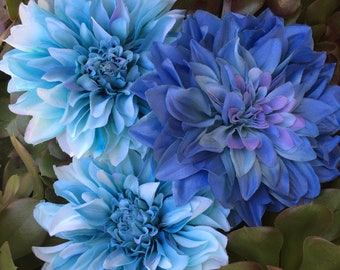 SALE! Extra Large Blue Dahlis, set of Three