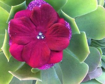 Magenta Sparkler Hydrangea Hair Flower