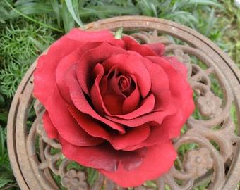 Natural Red Rose Hair Clip