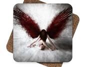 Square Hardboard Coaster Set 4Pcs with Gothic Angel Image