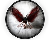 Dark Gothic Angel with Red Wings - Wall Clock