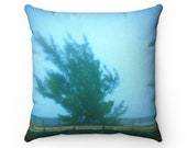 Square Spun Polyester Pillow with Fine Art Image of Tree in Mist - Multiple Sizes