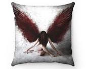Gothic Angel with Red Feathers - Fine Art Spun Polyester Square Pillow - Multiple Sizes