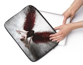 Black and White Laptop Sleeve with Gothic Angel with Red Wings