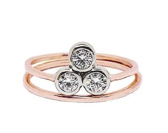 Past Present Future ring   Alternative Engagement Ring   Three stone Moissanite Engagement ring   Reclaimed 14K Rose Gold