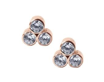 14K Rose Gold Stud Earrings | Three Stone stud earrings | Moissanite earrings | Diamond earrings
