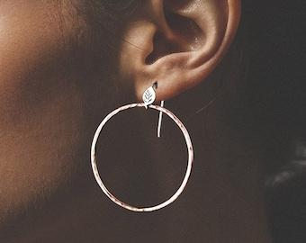 Forest Lake Hoop Earrings, Leaf and Textured hoop earrings, 14K Yellow Gold Hoops