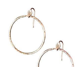 Forest Lake Hoop Earrings, Leaf and Textured hoop earrings, 14K Rose Gold Hoops