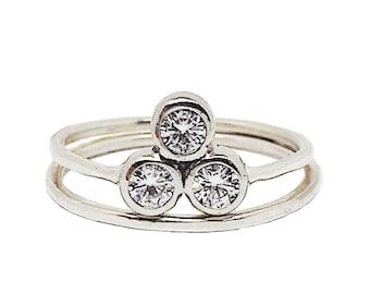 Past Present Future ring | Alternative Engagement Ring | Three stone Moissanite Engagement ring | Reclaimed 14K White Gold