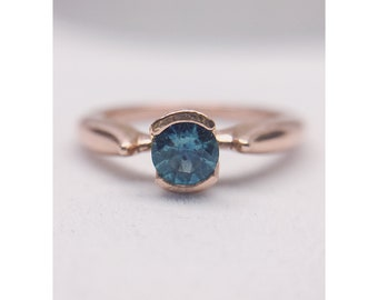 Teal Montana Sapphire Engagement Ring | 14K Rose Gold Ring | Blue Green Montana Sapphire | Sapphire Engagement Ring