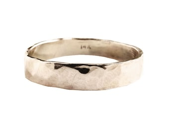 14K White Gold Reflections of Love Wedding Band | Recycled Gold Wedding Bands | Simple Wedding Bands | Textured Wedding Bands.