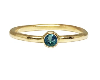 You Are My Wishing Star_ Dainty Engagement Ring | 14K Yellow Gold Engagement ring | Teal Blue Green Montana Sapphire engagement ring