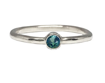 You Are My Wishing Star_ Dainty Engagement Ring | 14K White Gold Engagement ring | Teal Blue Green Montana Sapphire engagement ring