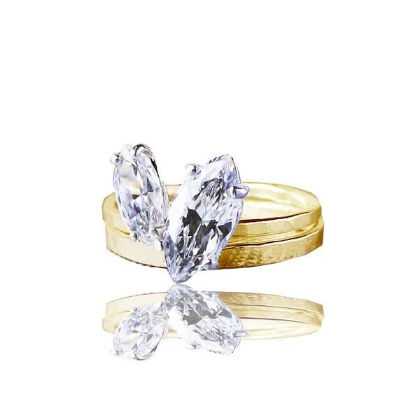 Marquise Diamond Stackable Engagement Wedding Ring Set Etsy