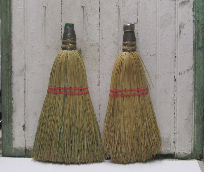 Vintage Whisk Brooms 2 Straw Brushes Farm Cottage Decor Lot Kithchen Tools Primitive Wall Hanging Collection