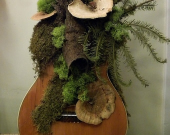 """Woodstock 50th Anniversary Gallery Art Guitar.  """"Woodstock Still Lives With Nature"""""""