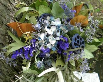 Dried Wild Bouquet--Natural Bouquet-Rustic Bouquet-Scottish Highland Bouquet-Log Cabin Decor-Antler Thistle Eucalyptus Bouquet