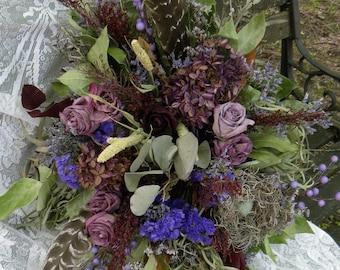 Dried Wild Bouquet-Dried Bridal Bouquet-Natural Bouquet-Rustic Wedding Bouquet-Eucalyptus Bouquet-Purple Dried Flowers-Feather bouquet