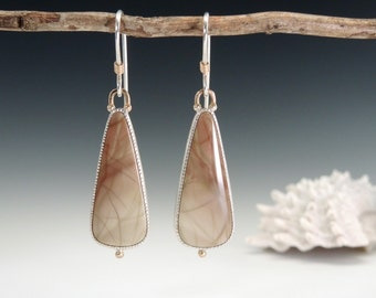 Willow Creek Jasper, Jasper Earrings, Dangle Earrings, Sterling Silver, 14kt Gold, Elegant, Sage Green, Terra Cotta SALE