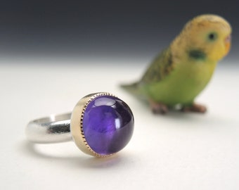 Amethyst Ring in Sterling Silver and 18kt Gold, Round High Domed Gemstone, 12.85 ct
