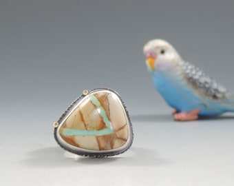 Ribbon Turquoise Ring in Sterling and 14kt Gold