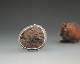 Blue Biggs Picture Jasper Ring in Sterling Silver and 14kt Gold